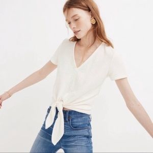 MADEWELL TEXTURE & THREAD | v-neck tie front top